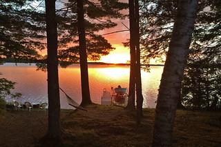 Maine - Lake Pushaw sunset