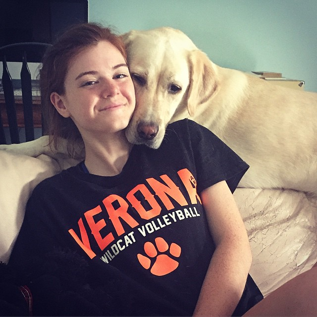 Ginny welcomes Katie home after a long, fun day of volleyball.