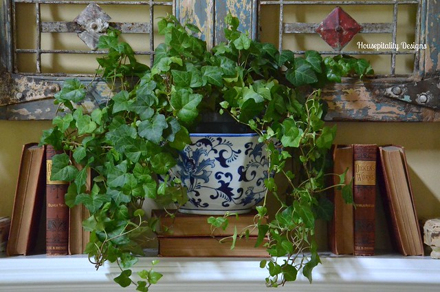 Great Room Mantel - Blue and White Planter - Vintage Dickens Books - Housepitality Designs