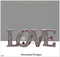 DD Vintage Roses Love Lamp Vendor
