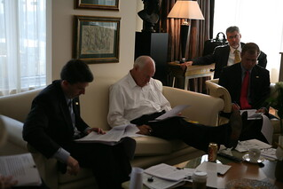 Vice President Cheney Meets with David Addington , John McConnell and Derrick Morgan in His Hotel Suite in Kiev, Ukraine to Prepare for His Speech at the Ambrosetti Forum