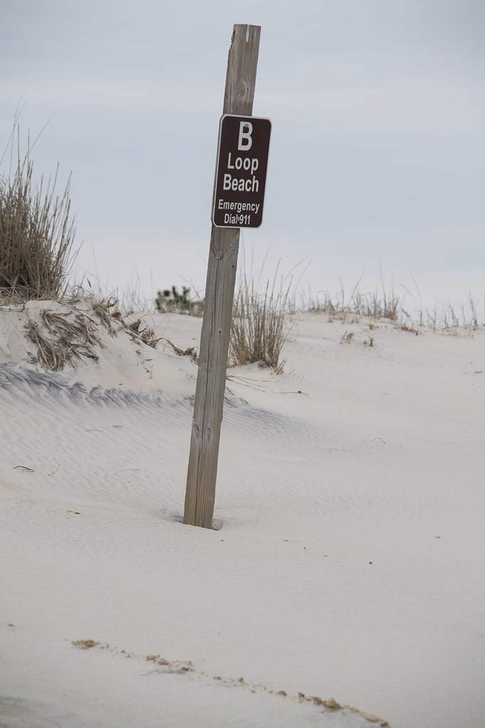 sign for B loop beach access at Assateague