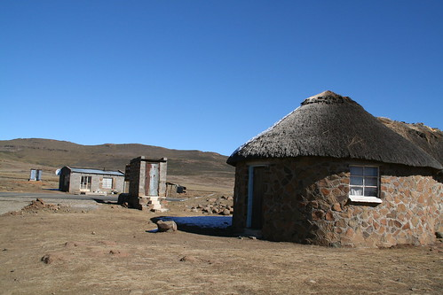 Rondavels and latrines in Lesotho