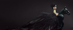 black dress fashion model
