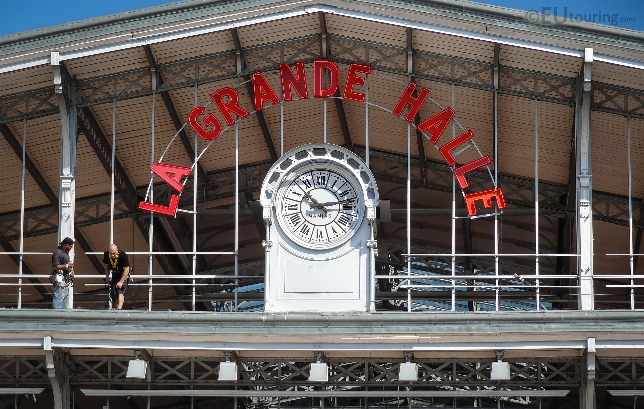 Historical clock on La Grande Halle
