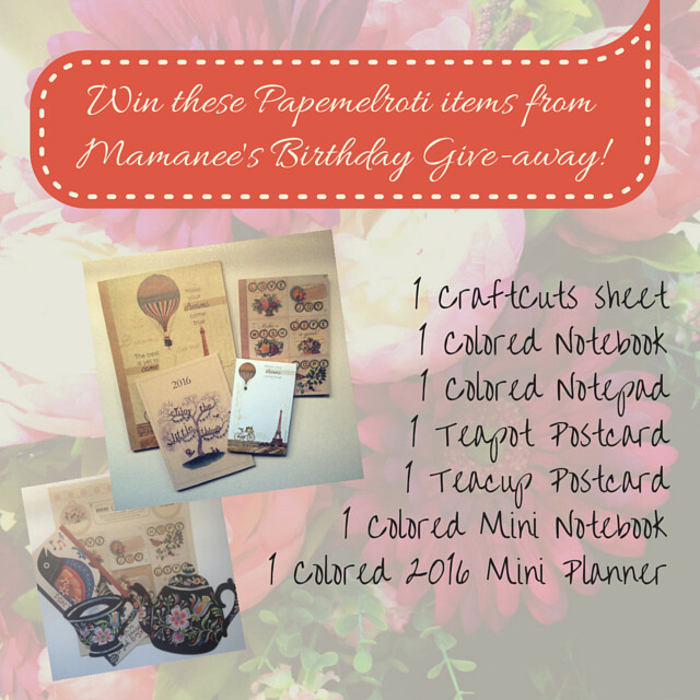 Mamanee's & Papemelroti's Give-away