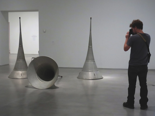 Stephen taking pictures of metal pieces; Reina Sofia contemporary art museum, Madrid (2015)