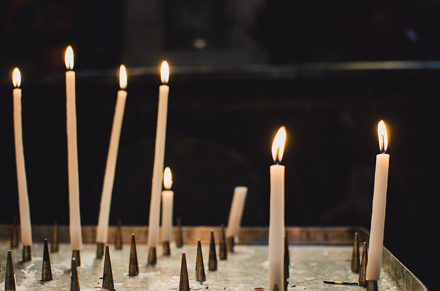 The candles of worshippers are ever present at the Church of Saint-Sulpice.