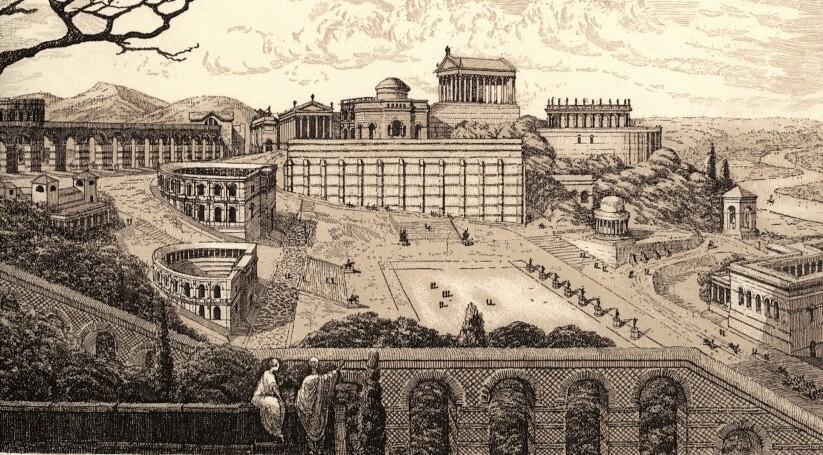 Vue sur Lugdunum, la ville gallo-romaine et future Lyon. L'amphithéâtre et l'Odéon sont adossés à la colline sur la gauche.