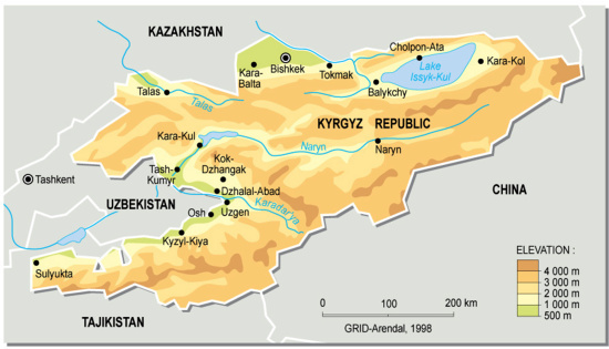 Kyrgyz Republic, topographic map | GRID-Arendal