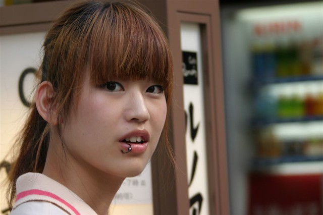 Girl with piercing, Japan