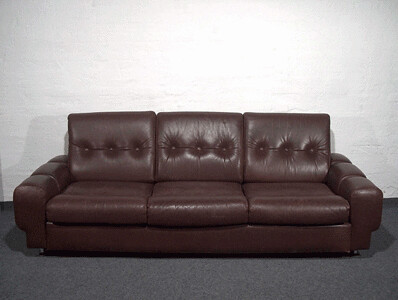 Danish brown leather sofa