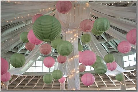pink green lanterns by Wedding or Party Decorations