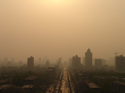 china city sunset pagoda smog xian 陕西 中国 西安 shanxi 大雁塔 shaanxi biggoosepagoda bigwildgoosepagoda 大慈恩寺