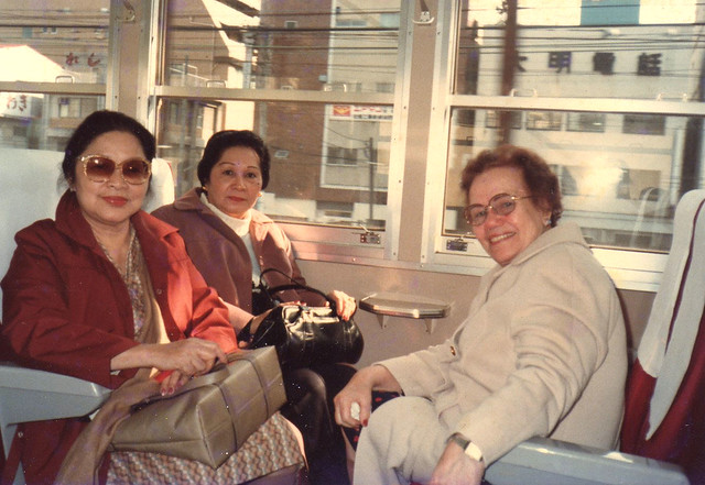 Lola Paying, Lola Liddy and Mama on a train in Japan Nov.28-30, 1982