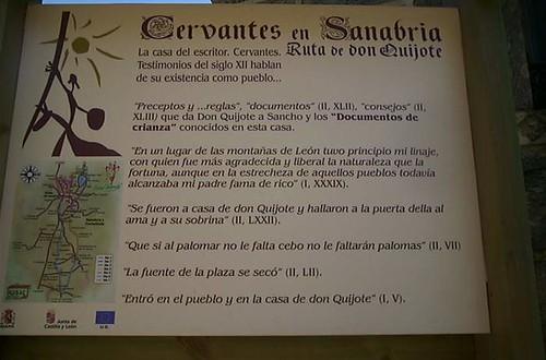 cartel de la casa del Escritor del pueblo Cervantes