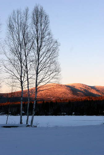 sunset mountain lake snow ice snowy maine birch bluish rangelylakes quimbypond