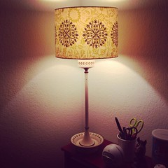 lamp, light fixture, yellow, lampshade, pink, lighting,