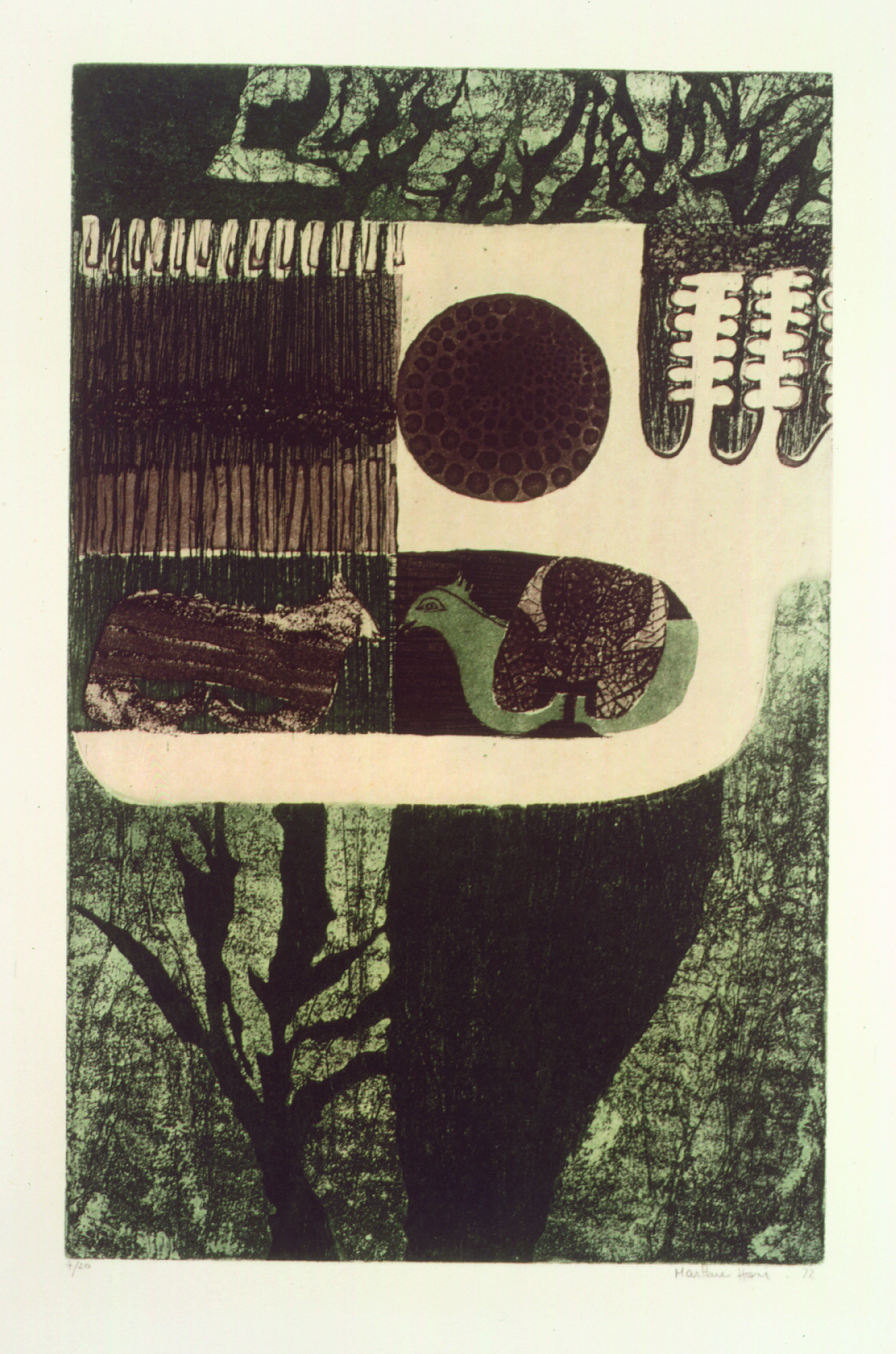 Abstrato  Autor: Marlene Hori Ano: 1972  Técnica: Água-tinta e Água-forte (4/20) Dimensões: 36cm x 23cm