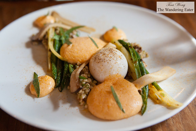 Soft boiled egg, charred green beans, wax beans, saffron, blood sausage