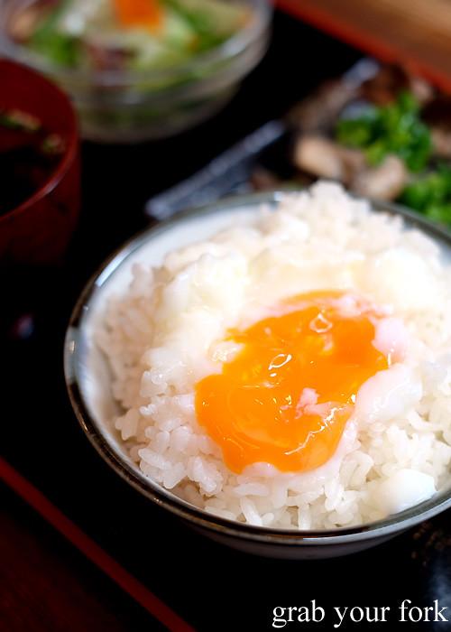 Onsen egg on rice at Tagiruba Grill in Kagomma Furusato Yataimura, Kagoshima