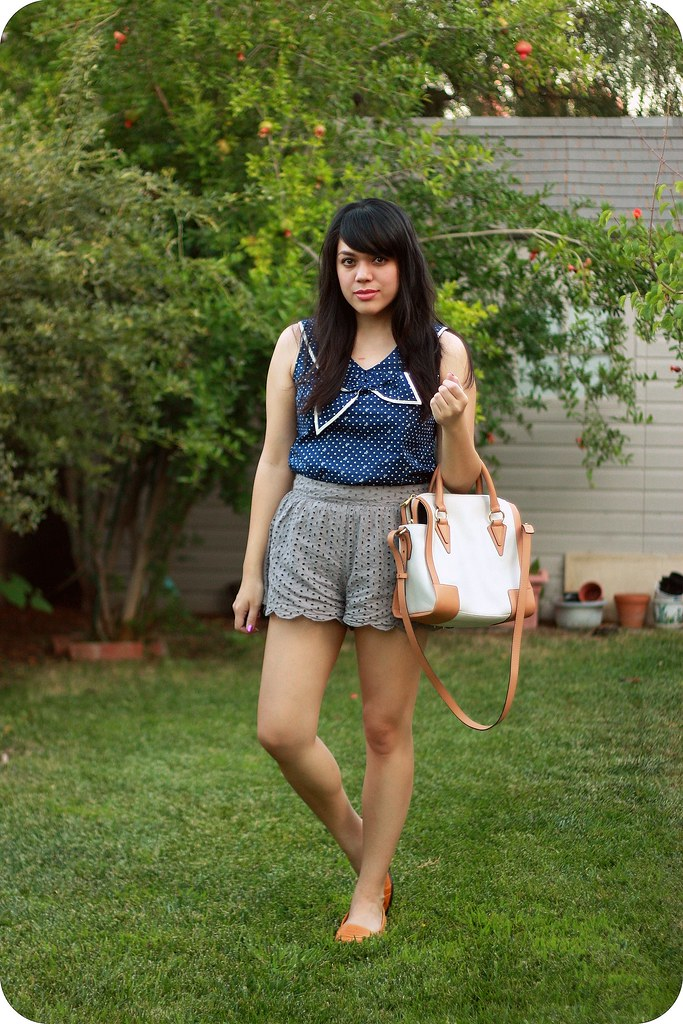 Sweets and Hearts style: outfit featuring sailor blouse, scalloped shorts, Pour la Victoire satchel, thrifted leather loafers