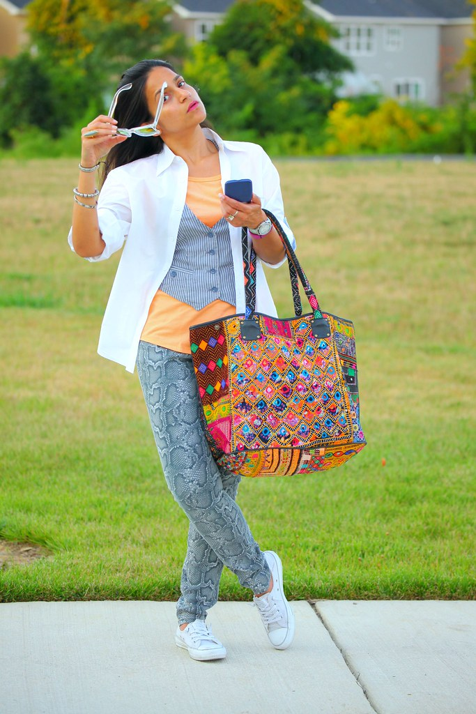Tee - c/o Hanes Vest - GAP Shirt - Husband's Jeans - Michael Kors  Shoes - Converse  Bag - From India Tanvii.com