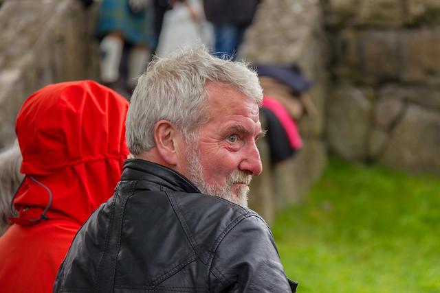 Man in a leather jacket at Ólavsøka / Ólafsvaka in Tórshavn, Faroe Islands