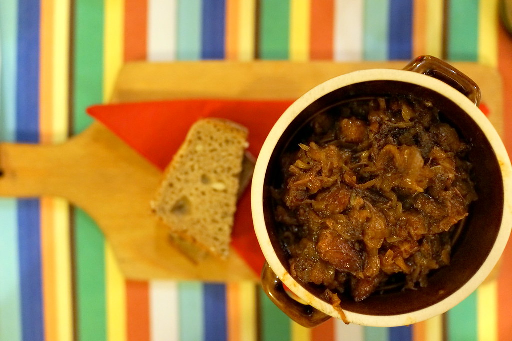 Bigos is a traditional Polish meal made of sauerkraut stewed with bacon, salami and sausages