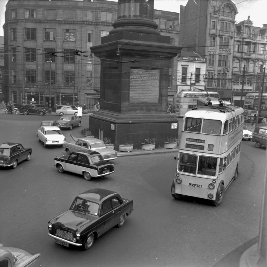 Trolleybus heading past Grey's Monument