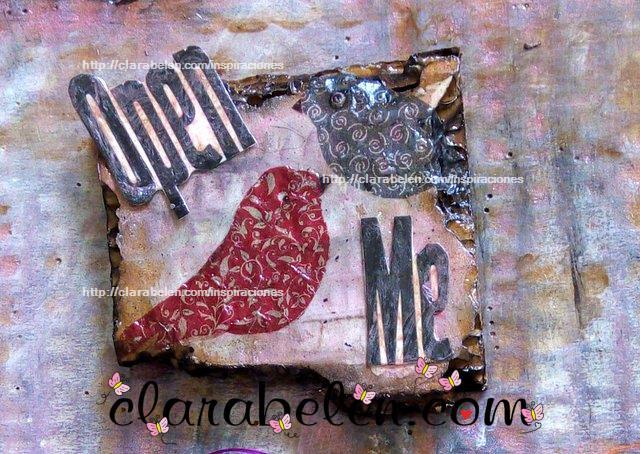 Decoracion para scrapbook carton quemado y decoupage