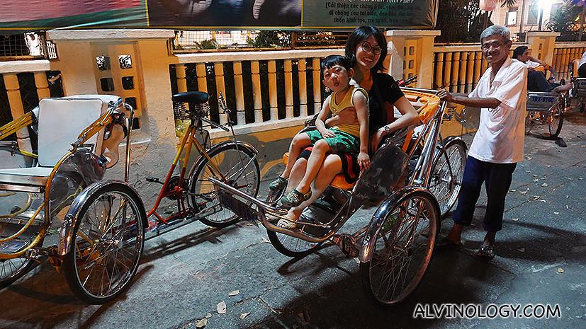 Sitting on a cyclo