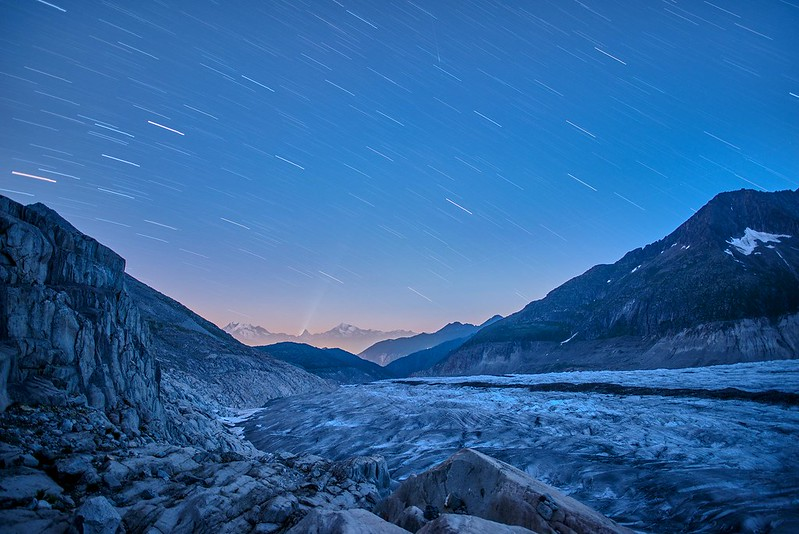 Star trails over the Matterhorn - Märjelensee