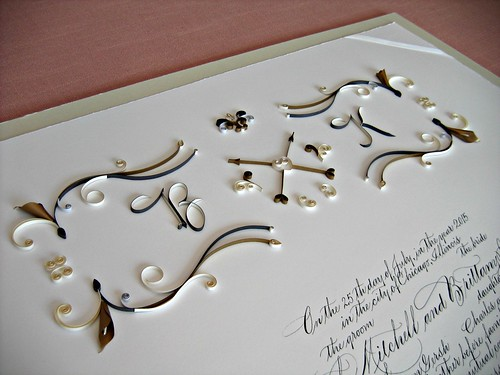 Monogrammed Ketubah with Elegant Quilling and Paper Calla Lilies