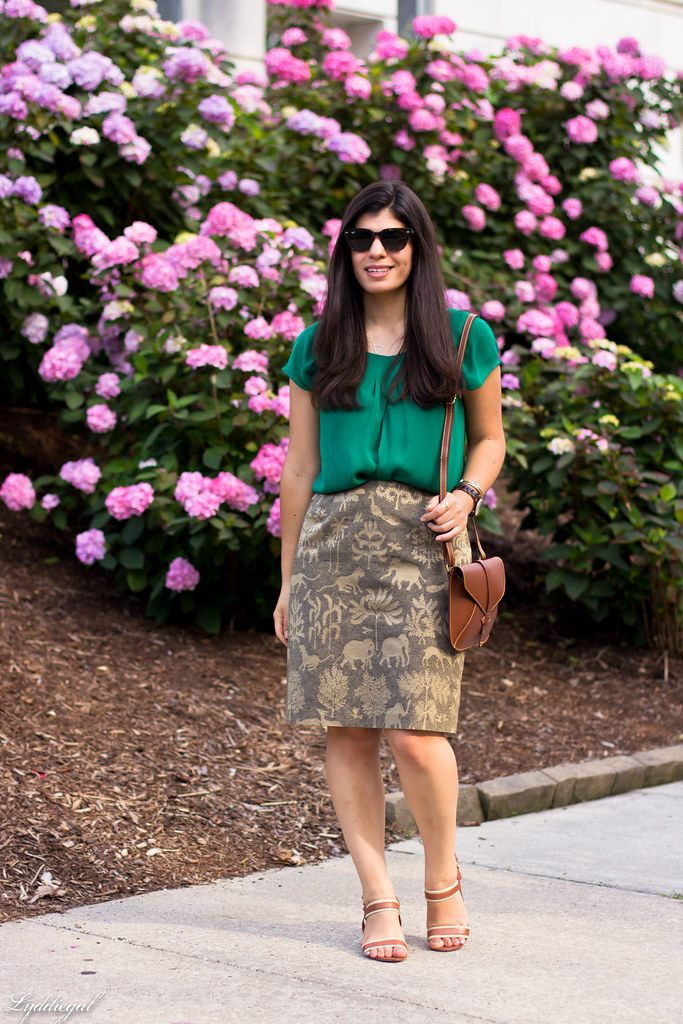 elephant print skirt, green silk blouse, brown sandals-2.jpg