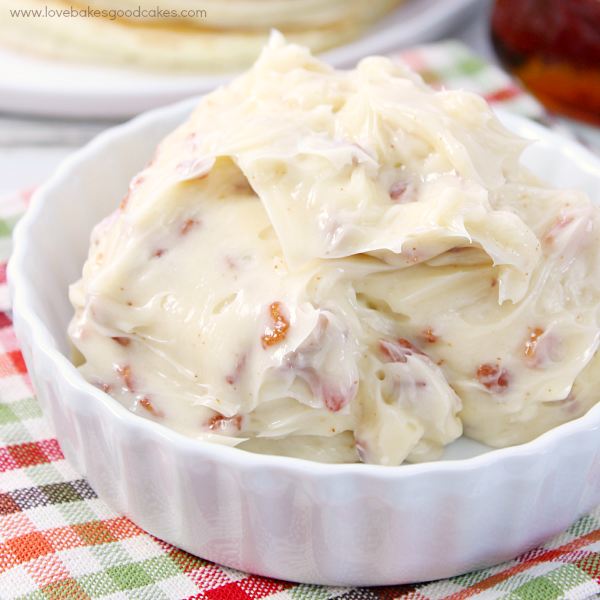 Maple Bacon Butter in a white dish close up.