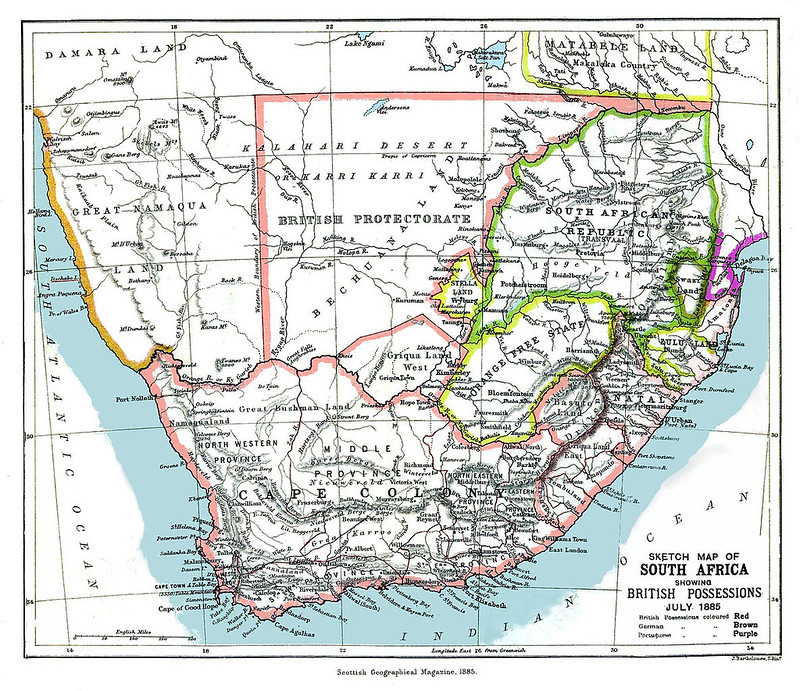 Map of South Africa showing the Bechuanaland Protectorate