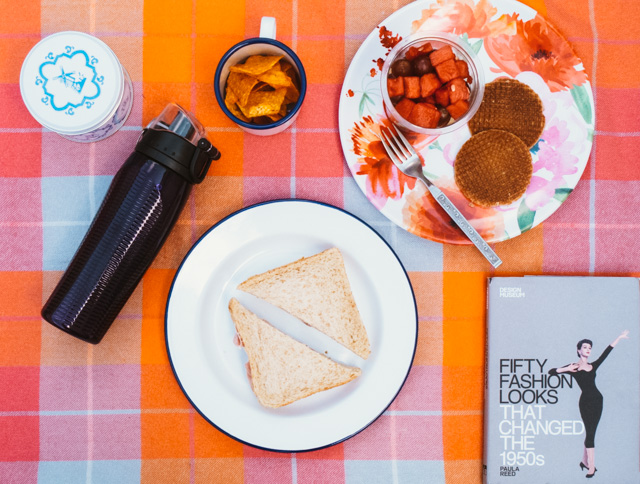 picnic spread with sandwiches, fruit, doritos and belgian waffles on colourful blanket