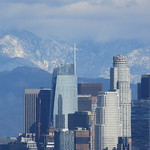 Snow behind Downtown Los Angeles