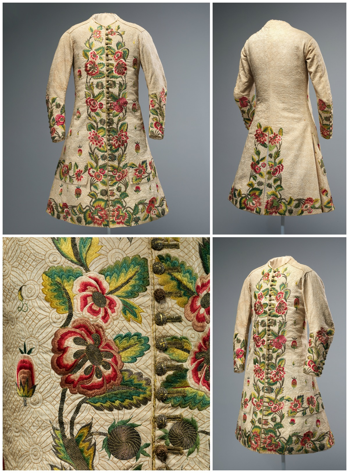 c1710. British. Linen, silk, metallic thread. metmuseum