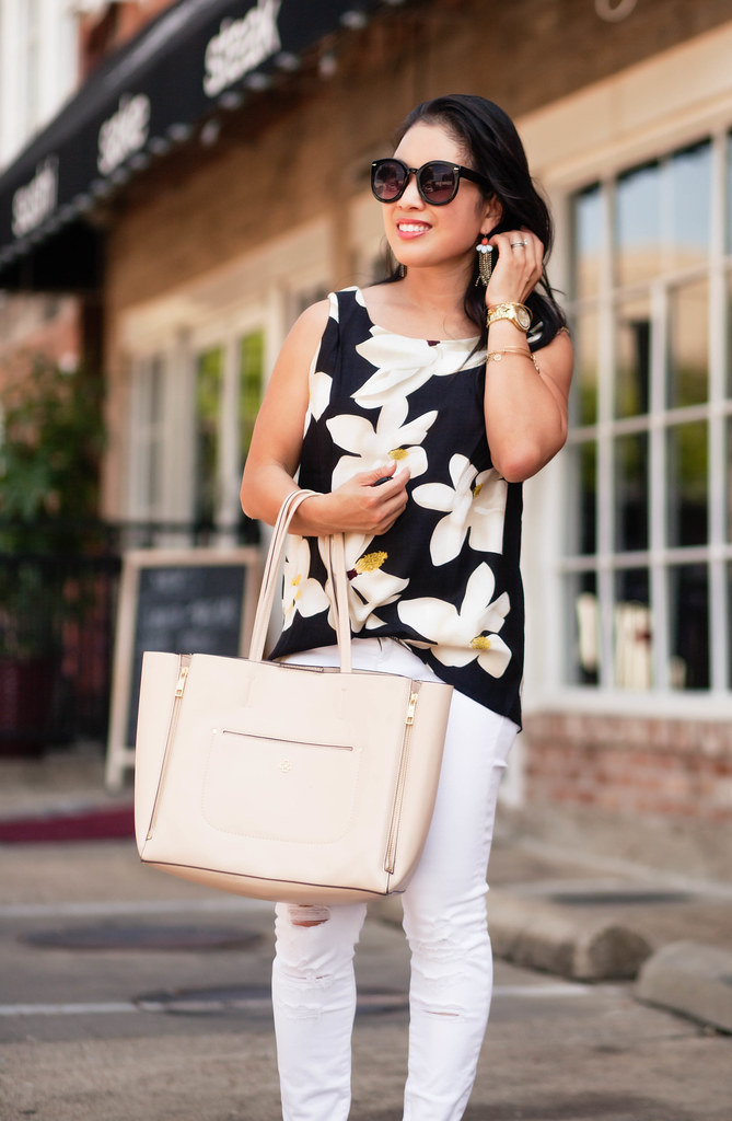 cute & little blog | black floral sleeveless top, white distressed jeans, nude tote, baublebar sunshower drop earrings | spring summer outfit