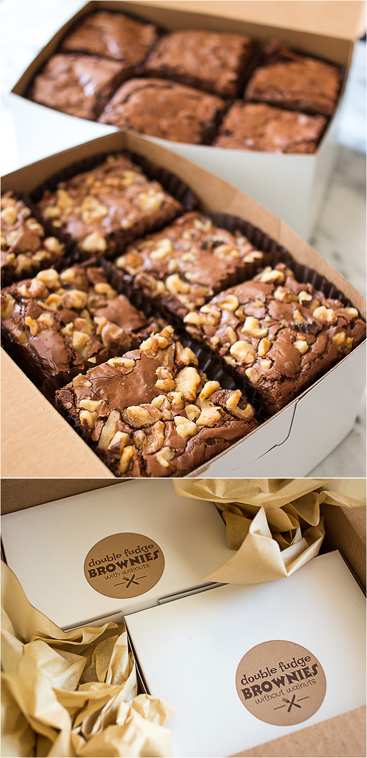 Double Chocolate Fudge Brownies Two Ways - with and without walnuts