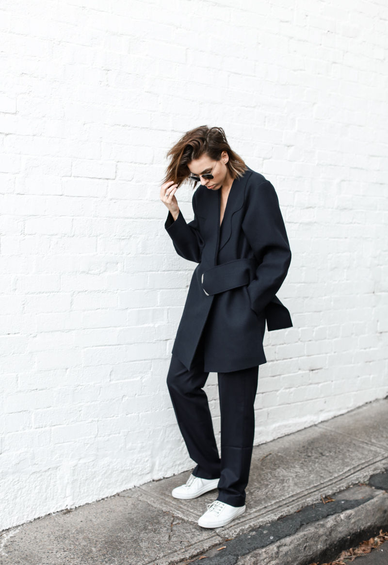 modern legacy, fashion blog, JACQUEMUS designer navy coat, buckle detail, oversized, street style, off duty, white sneakers (1 of 1)