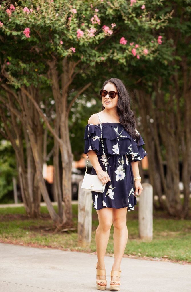 cute & little blog | petite fashion | navy off shoulder floral dress | summer outfit