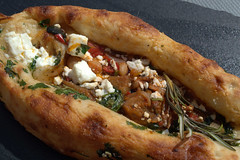 Turkish Pide Spicy Harissa, Roasted Veg, Chickpeas…