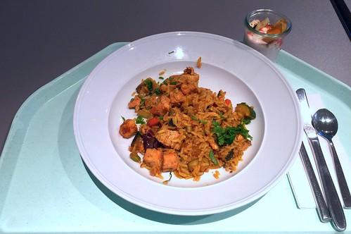 Spanish paella with fish, seafood & vegetables / Spanische Paella mit Fisch, Meeresfrüchten & mediterranem Gemüse