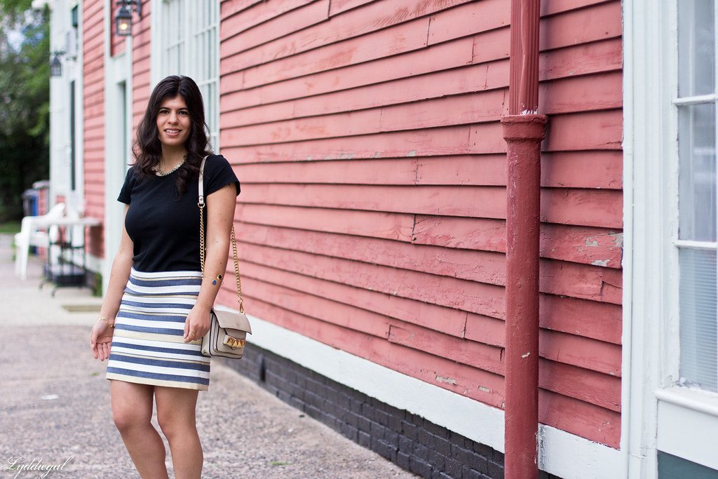 striped mini skirt, black tee, studded bag-2.jpg