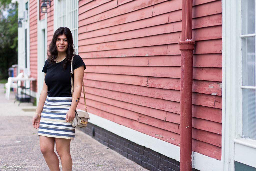 striped mini skirt, black tee, studded bag-2.jpg