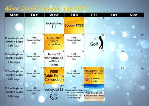 Milner activity calendar