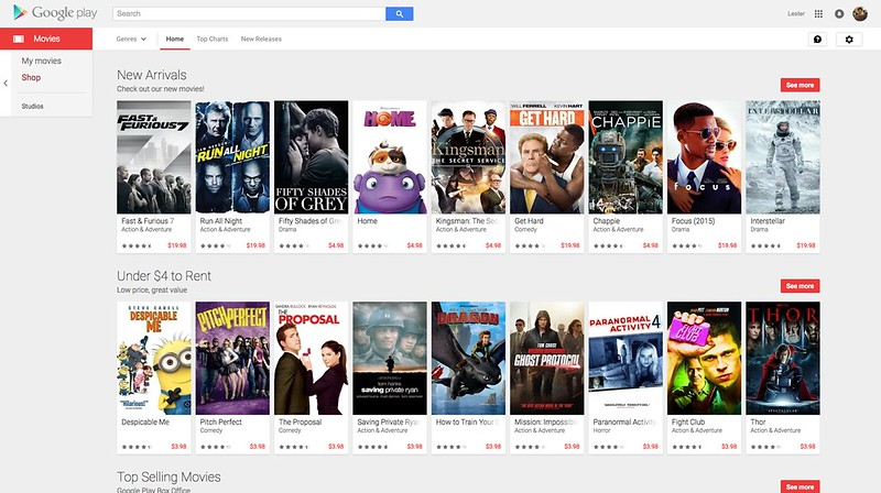 Play Store Web - Movies - Home